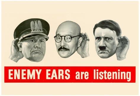 Enemy Ears Are Listening WWII War Propaganda Art Print Poster Plakat