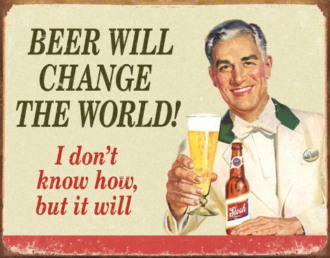 Ephemera - Beer Change Wood Blikskilt
