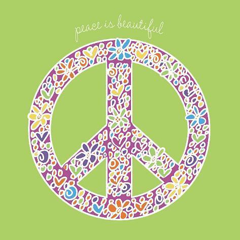 Peace is Beautiful Opspændt lærredstryk