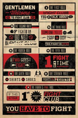 Fight Club-regler, infografik Plakat
