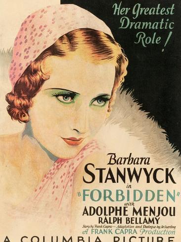 FORBIDDEN, Barbara Stanwyck, 1932 Kunsttryk
