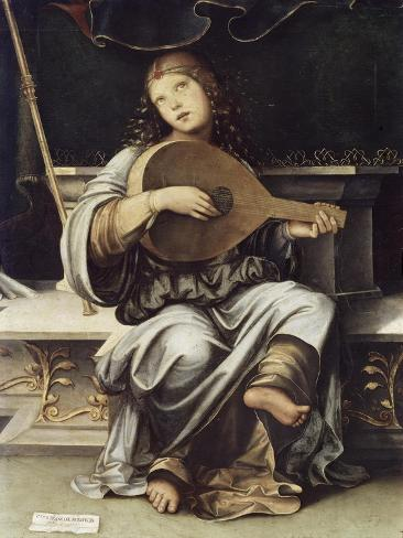 Girl with a Lute Giclée-tryk