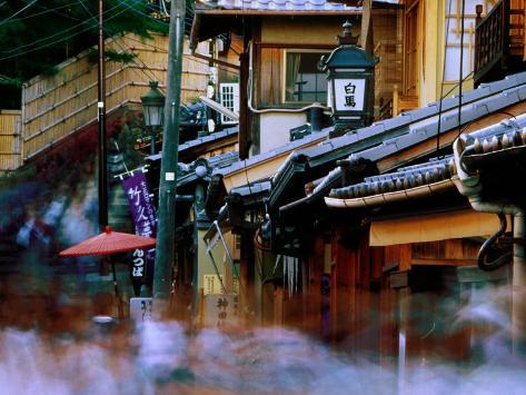 Streets and Shops in Sannen-Zaka, Kyoto, Japan Fotografisk trykk