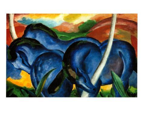 The Large Blue Horses, 1911 Kunsttryk