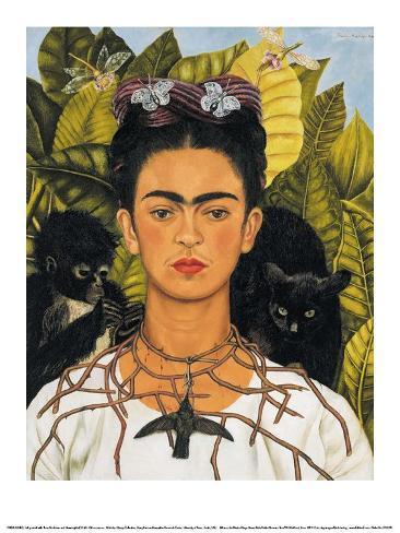 Selvportrett med halskjede og kolibri, 1940 Kunsttrykk