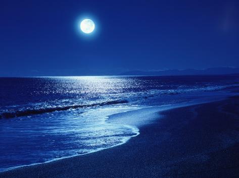 Fuldmåne over havet Premium fototryk