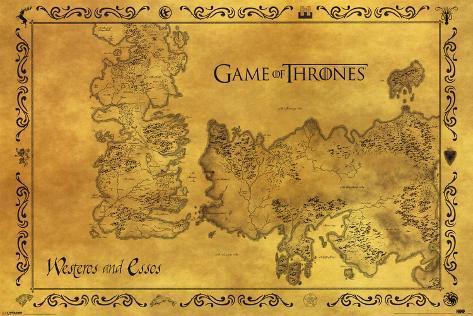 Game Of Thrones - Antique Map Plakat
