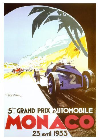 5th Grand Prix Automobile, Monaco, 1933 Kunsttryk