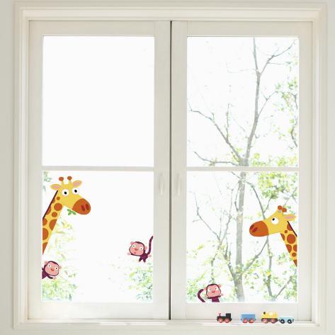 Giraffes and Monkeys Window Decal Sticker Vinduessticker