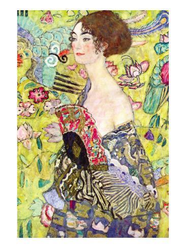 Dame med vifte Kunsttryk
