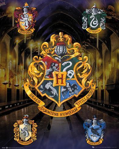 Harry Potter House Crests Miniplakat