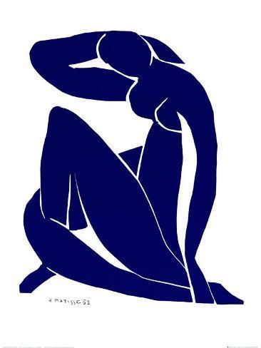 Blå nøgenmodel II Kunsttryk