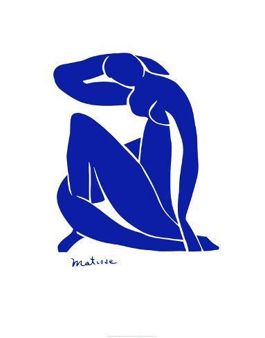 Blå nøgenmodel Kunsttryk