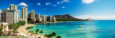 Hotels on the Beach, Waikiki Beach, Oahu, Honolulu, Hawaii, USA Premium fotografisk trykk