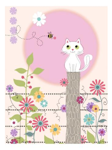 Hvid kat, sommer Wallstickers