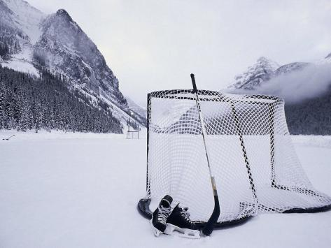 Ice Skating Equipment, Lake Louise, Alberta Fotografisk tryk