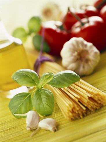 Ingredients for Italian Pasta Dish Fotografisk tryk