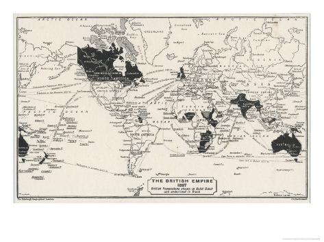 Verdenskort, som viser kolonier i Det Britiske Imperium, på engelsk Giclée-tryk af J.g ...