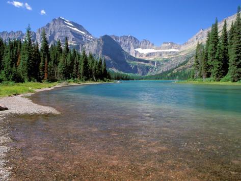 Lake Josephine-søen med Grinnell-gletsjeren og Rocky Mountains, Glacier Nationalpark, Montana Fotografisk tryk
