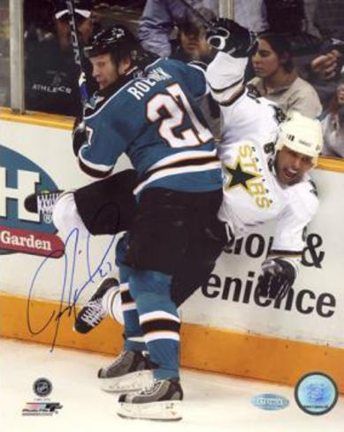 Jeremy Roenick San Jose Sharks Checking Autographed Photo (Hand Signed Collectable) Foto