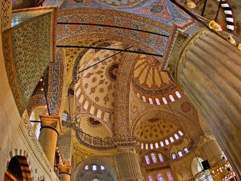 Interior of the Blue Mosque, Istanbul, Turkey Fotografisk tryk