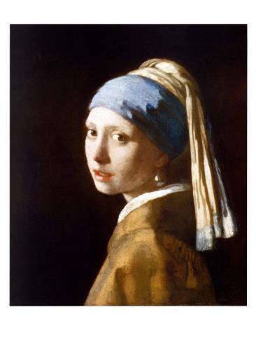 Pige med perleørering Kunsttryk