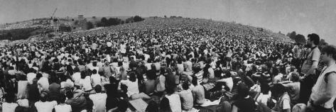 Audience at Woodstock Music Festival Fotografisk trykk