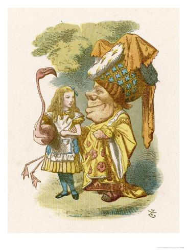 Alice Plays Croquet with the Duchess Using a Flamingo Giclee-trykk