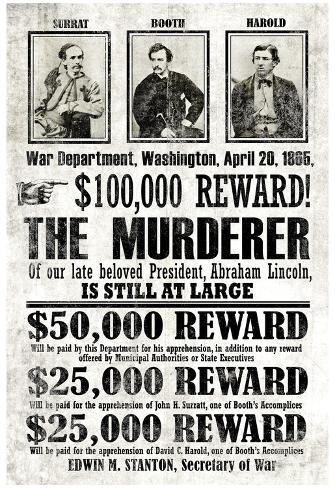 John Wilkes Booth Replica Wanted Poster Plakat
