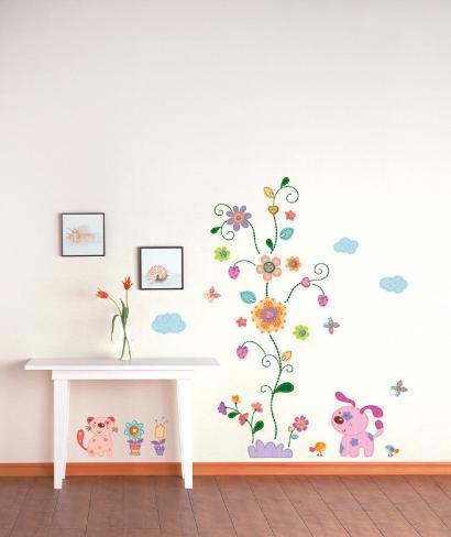Kæledyr og blomster Wallstickers