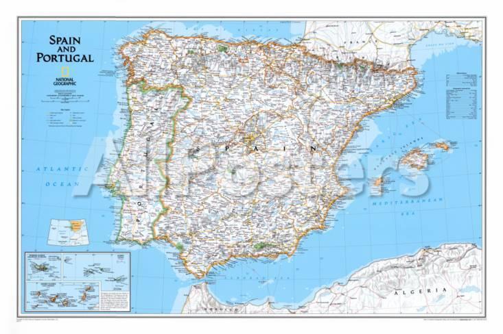 kart over portugal og spania Kart over Spania og Portugal Plakater hos AllPosters.no kart over portugal og spania