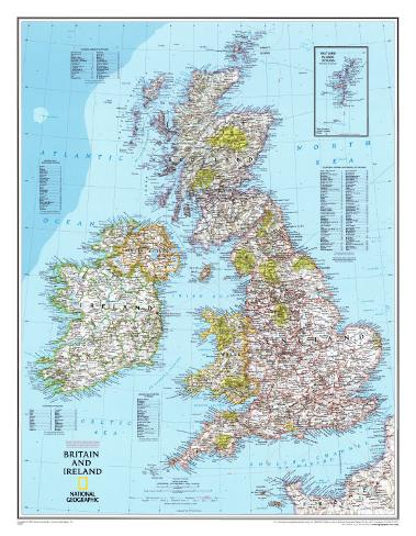 storbritannia kart Kart over Storbritannia og Irland Montert trykk hos AllPosters.no storbritannia kart