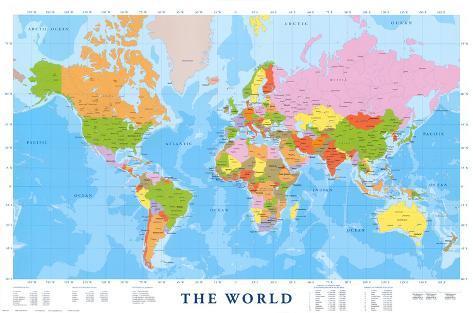 kart i verden Kart over verden Bilder hos AllPosters.no kart i verden