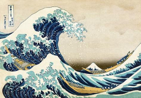Den store bølgen ved Kanagawa, fra 36 visninger av berget Fuji, ca. 1829 Kunsttrykk
