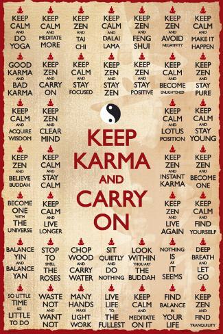KEEP KARMA & CARRY ON Plakat