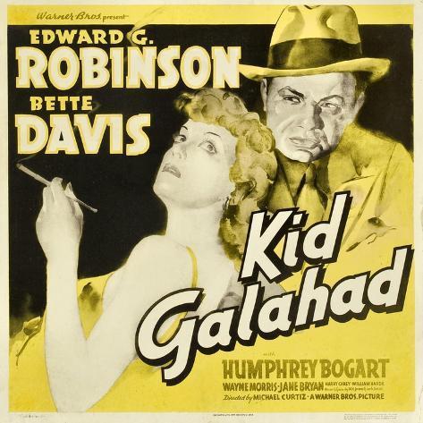 KID GALAHAD, Bette Davis, Edward G Robinson on jumbo window card, 1937 Kunsttryk