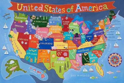Kid's USA Laminated Map Laminert plakat