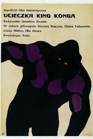 King Kong Escapes, (aka Ucieczka King Konga), Polish poster, King Kong, 1967 Kunsttryk