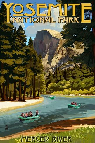 Merced River Rafting - Yosemite National Park, California Kunsttrykk