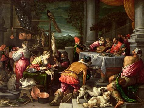 The Rich Man and Lazarus, 1590-95 Giclée-tryk