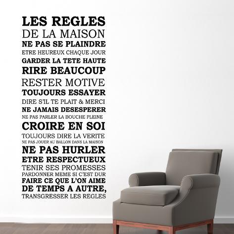les r gles de la maison wallstickers p. Black Bedroom Furniture Sets. Home Design Ideas