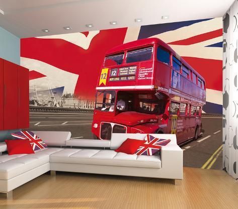 london double decker bus wallpaper mural tapetmaleri hos. Black Bedroom Furniture Sets. Home Design Ideas