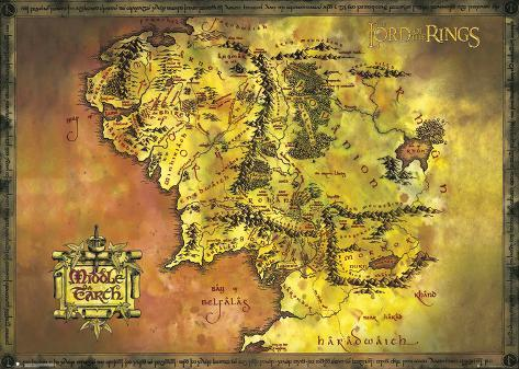 Lord Of The Rings- Middle Earth Map Kæmpeplakat