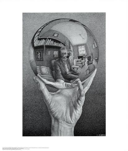 Hand with Globe Kunsttryk