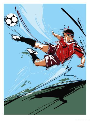 Man Kicking a Soccer Ball Kunsttryk