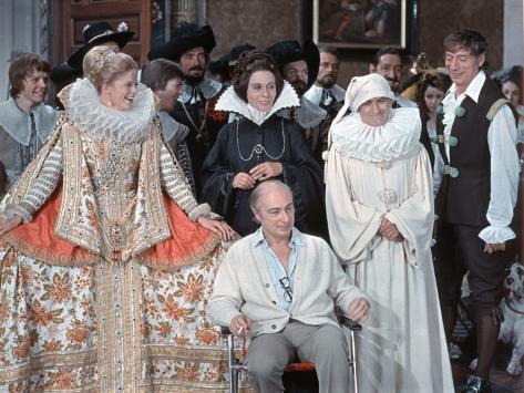 Louis de Funès,, Yves Montand and Alice Sapritchshooting Picture: La Folie Des Grandeurs, 1971 Fotografisk trykk
