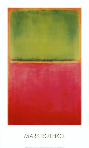Grøn, rød, på orange Kunsttryk