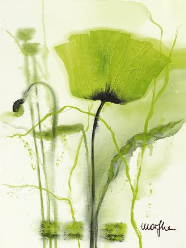 Grønn valmue II Kunsttrykk
