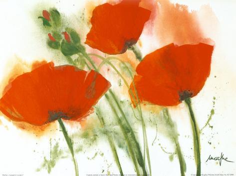 Poppies in the Wind I Kunsttryk