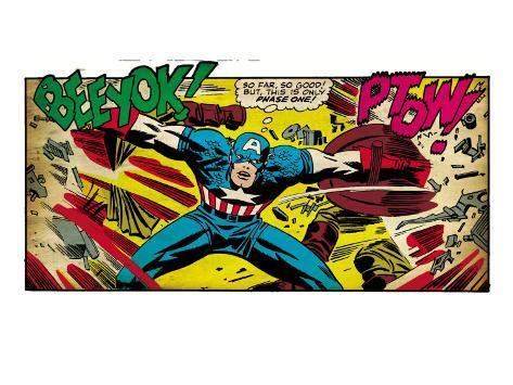 Marvel Comics Retro: Captain America Comic Panel, Fighting, Phase 1, So Far So Good! (aged) Kunsttrykk